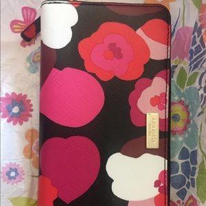 Kate spade new zip around floral flower wallet